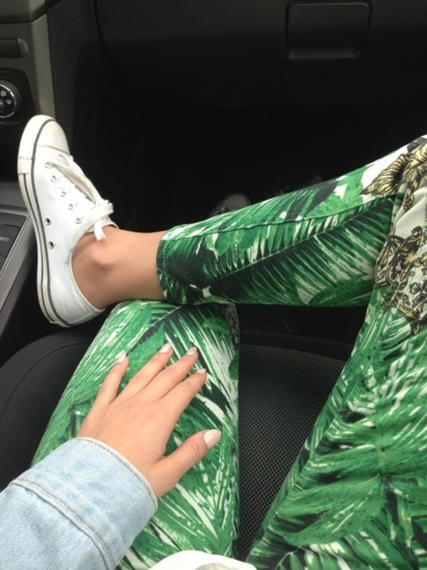 pants leggings palm tree palm tree print california
