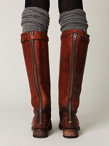 boots brown leather boots zip socks leather brown riding boots knee high studs shoes lauren conrad