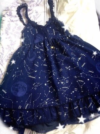 dress constellation stars blue dress ruffle