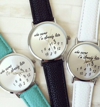 jewels watch white black teal blue pretty preppy jewelry