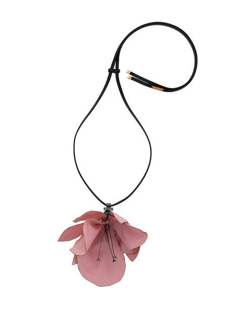 MARNI women necklace leather cotton purple pink jewels