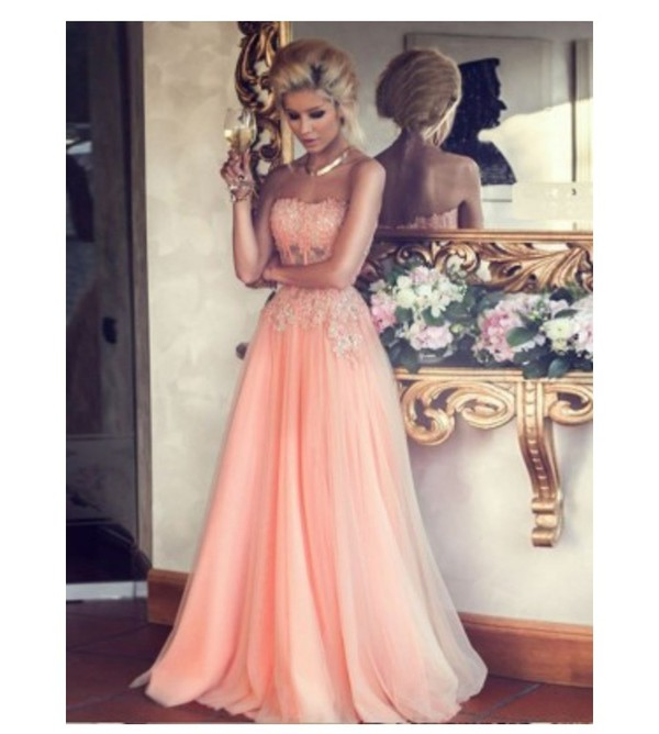MicDress | Peach Lace Top Floor Length Tulle Prom Dresses Wedding ...