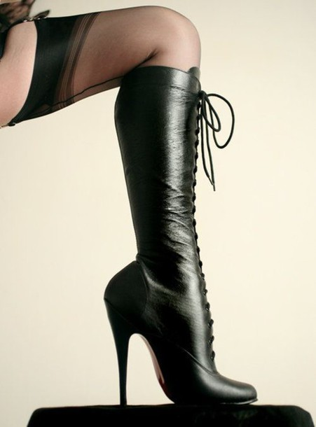 shoes boots leather boots black