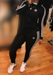 sweater,black and white,adidas,jogging suit