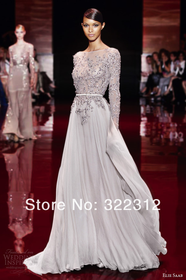 Aliexpresscom Buy 2014 Elie Saab Couture Light Grey Chiffon Long