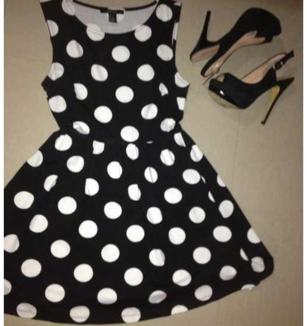 dress polka dors heels black white party cute girly boho