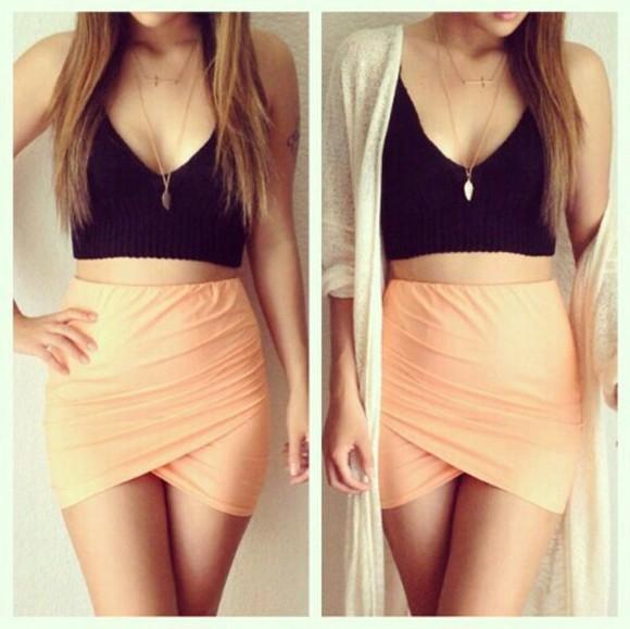 skirt black crop top orange orange skirt crop tops black cross