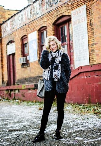 olivia shutey blogger coat bag scarf fuzzy coat faux fur