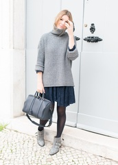 the working girl,bag,sweater,dress,shoes,jewels,susanna boots,grey boots,lace dress,navy dress,sweater over dress,turtleneck,turtleneck sweater,grey sweater,black bag,tights,ankle boots