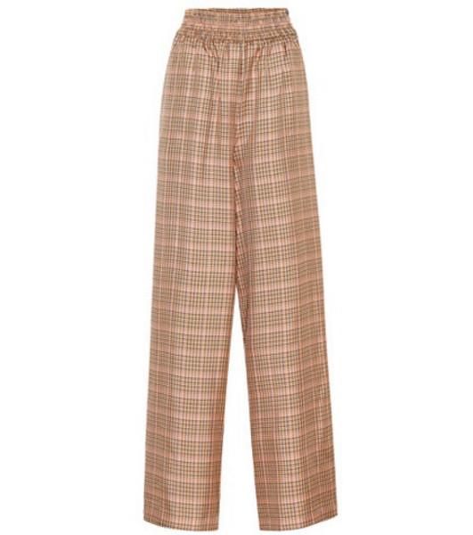 Golden Goose Deluxe Brand Plaid wide-leg pants in brown