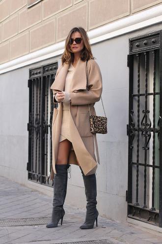 lady addict blogger camel coat nude dress suede boots mini bag animal print bag
