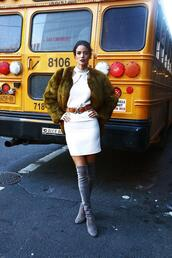 dress,nyfw 2017,fashion week 2017,fashion week,streetstyle,mini dress,white dress,halter dress,halter neck,jacket,green jacket,fur jacket,boots,grey boots,over the knee boots,over the knee,thigh high boots,thigh highs,belt,double buckle belt,shoes