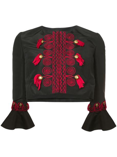 oscar de la renta jacket cropped jacket embroidered cropped tassel women black silk