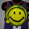 90's have a nice day vintage smiley face raver style see through pvc plastic backpack with smiley face keychain