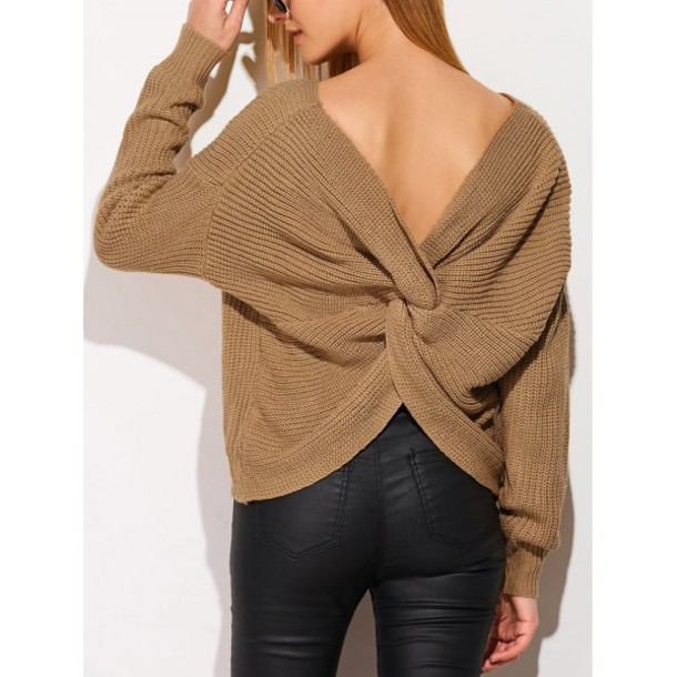 sweater brown fall outfits style trendy open back long sleeves knitwear fashion winter outfits trendsgal.com