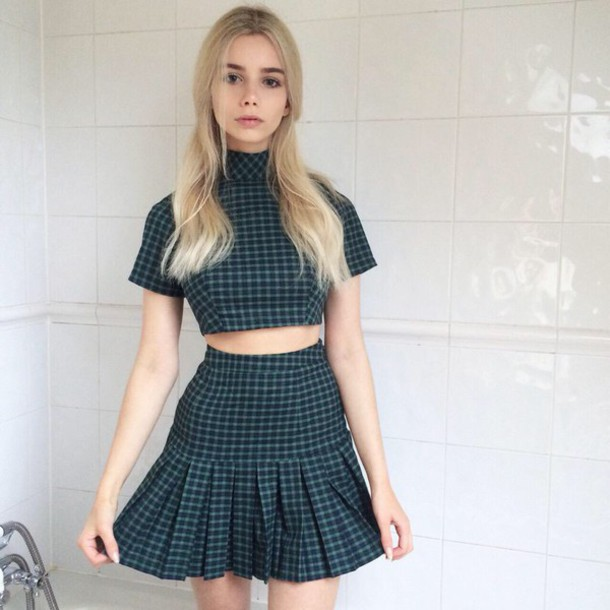 matching set two-piece pleated skirt tennis skirt grid back to school crop tops high waisted skirt turtleneck pale tumblr soft grunge aesthetic dress green plaid pleated flannel iggy azalea skirt top tight
