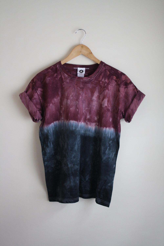 Dip dye ombre tie dye t shirt unisex burgundy black for Black and blue tie dye t shirts