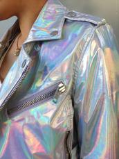 jacket,holographic,sparkle,vue boutique,hologram jacket,rehab clothing,rehab brand,rehab,rainbow,gorgeous,multicolor,modern,metallic,holographic jacket,silver,fashion,tumblr,girl,biker,biker jacket,coat,kawaii,grunge,style