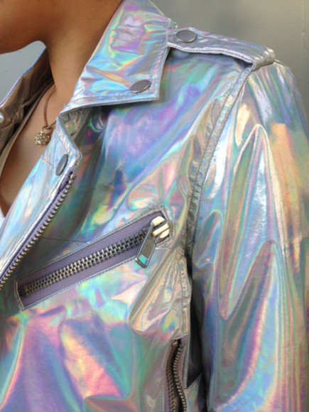 girl jacket tumblr fashion rainbow silver holographic jacket holographic hologram sparkle gorgeous multicolor, rainbow, modern, holographic, metallic