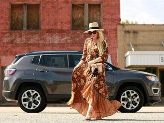 cortinsession blogger dress jewels bag hat shoes sunglasses sandals maxi dress crossbody bag fall dress fall outfits