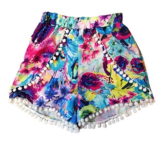 shorts bold shorts colorful bright colored style summer shorts summer classy must have #pretty pattern color/pattern fashion flowered shorts floral pants