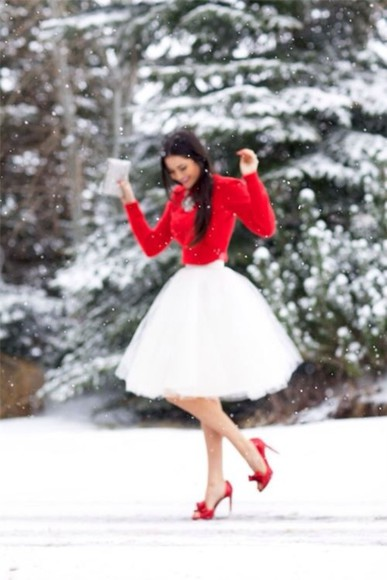 skirt winter outfits red white snow high heels style cute couture silver shirt shoes sweater tulle skirt