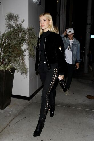 pants all black everything nicola peltz jacket fall outfits lace up celebrity sytle celebrity style celebstyle for less celebrity