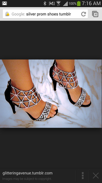 shoes silver sparkley crystal prom