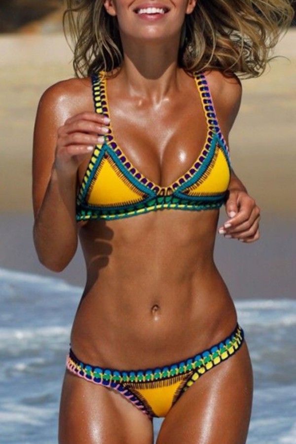swimwear, yellow, beach, bikini, summer, tan, sexy, hot ...