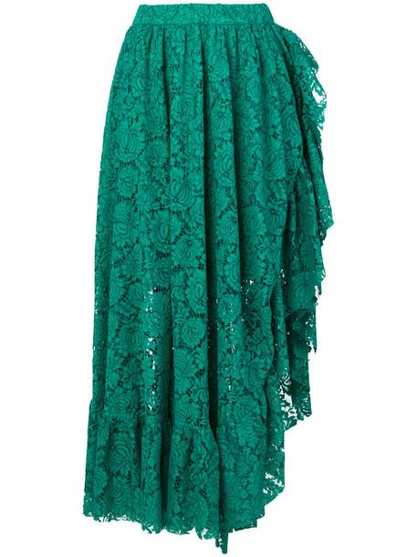 Philosophy di Lorenzo Serafini skirt ruffle women lace cotton green