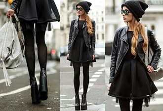 jacket leather black black leather leather jacket skirt dress black dress sunglasses hat black hat cool outfit outfit style fashion black leather jacket