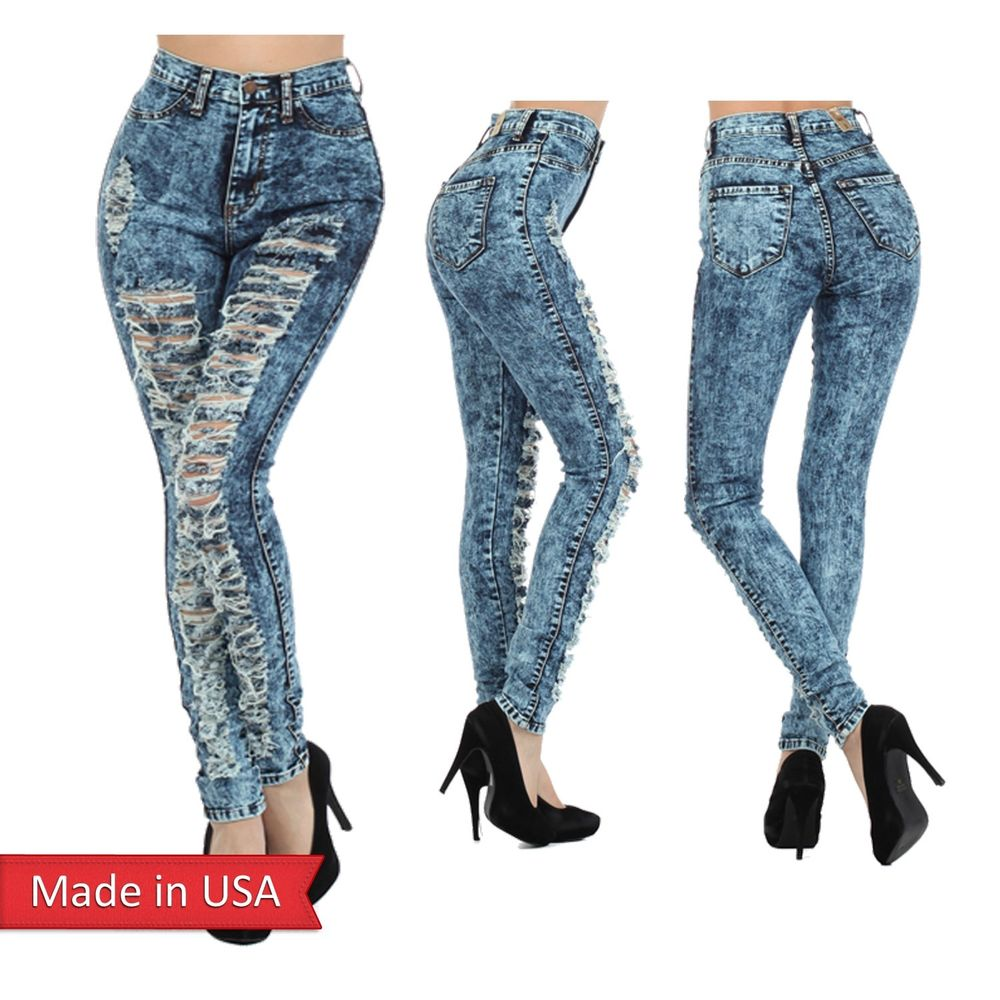 High waist acid mineral washed ripped distressed skinny frayed jeans shred pants