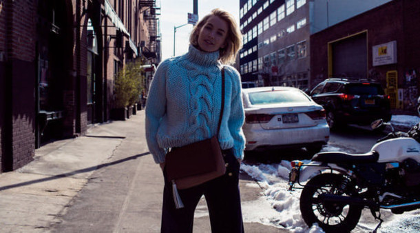 zanita blogger turtleneck knitted sweater cable knit sweater bag pants