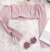 blouse,girly,girl,girly wishlist,pink,crop tops,crop,long sleeves,off the shoulder,cute