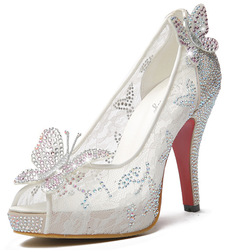 Aliexpress.com : buy 2015 new style lace high heels crystal wedding shoes thin heel rhinestone platform open toe butterfly cinderella crystal shoes from reliable shoes high heels red suppliers on anna's world.