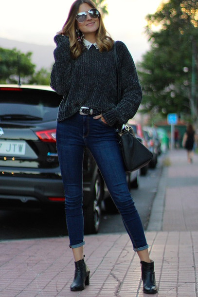 marilyn's closet blog blogger sunglasses jeans shoes bag belt grey sweater ankle boots winter outfits