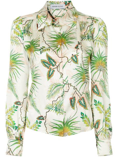 Adriana Iglesias shirt tropical women spandex print silk top