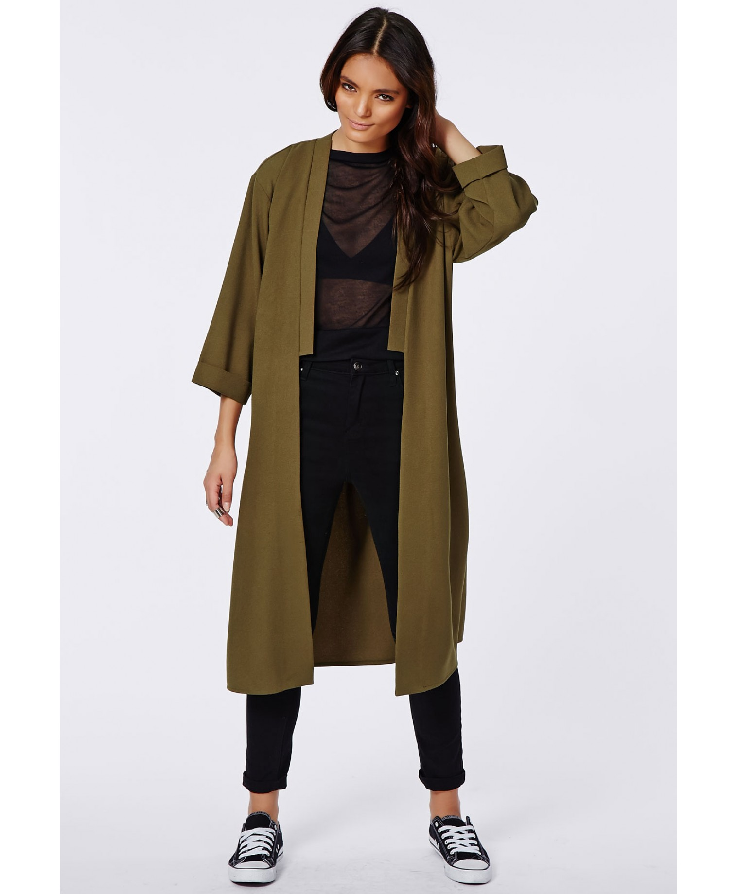 Missguided - Anais Crepe Duster Coat Khaki