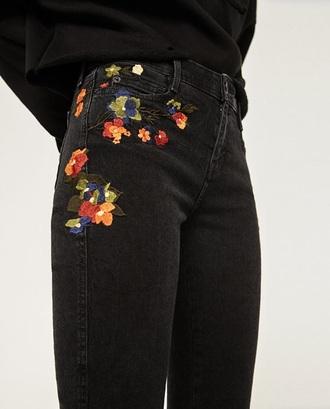 jeans black mom jeans floral