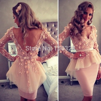 Aliexpress.com : Buy 2015 New Design Sexy Party Dress Sheath Knee Length V Neck Appliques Long Sleeve Custom Made Cocktail Dresses from Reliable dress strip suppliers on Rose Wedding Dress Co., Ltd | Alibaba Group