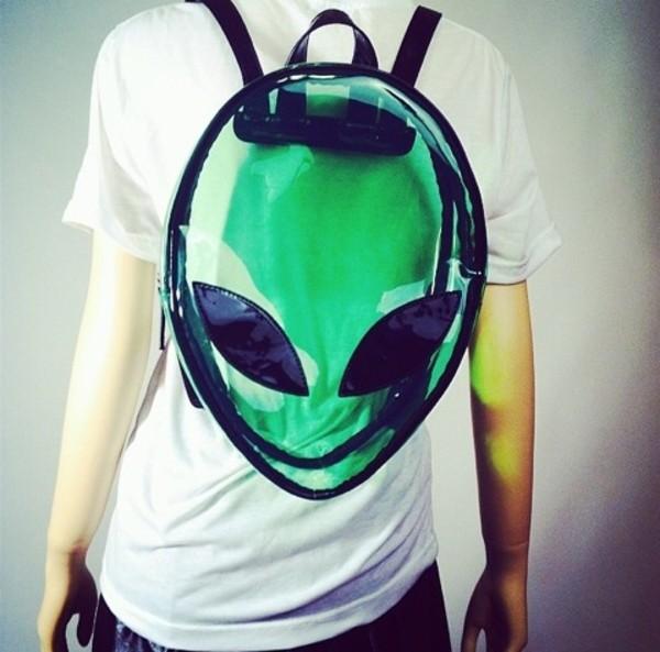 bag backpack alien alien green transparent  bag green weird stay weird