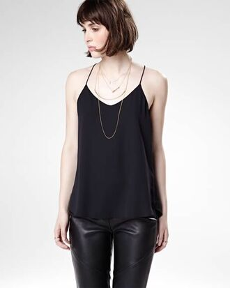 top cami top black top pants black pants leather pants necklace gold necklace