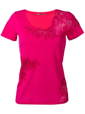 t-shirt shirt women lace cotton purple pink top