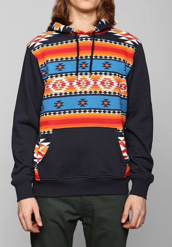 hoodie jacket orange aztec