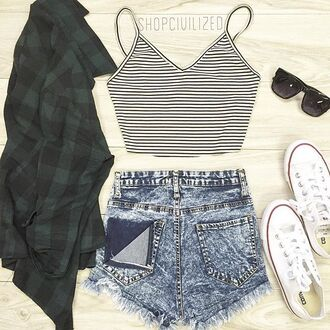tank top crop tops crop tank stripes striped crop top denim denim shorts shorts