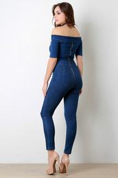 jumpsuit,denim,blue,tight,off the shoulder,back zipper,jewels,shoes