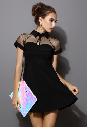 dress black peak collar mesh skater dress women blogger black dress fashion short dress little black dress mesh dress