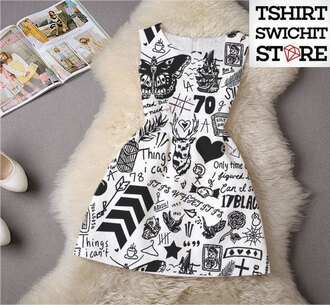 dress one direction tattoo harry styles black and white black white white dress black dress