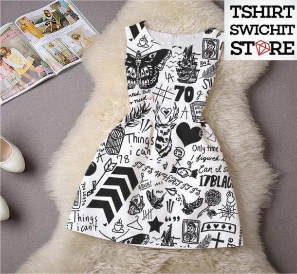 dress tattoo printed dress black and white dress one direction black and white cute dress white dress one direction dress