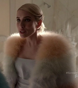 dress chanel oberlin emma roberts scream queens multicolor fur coat